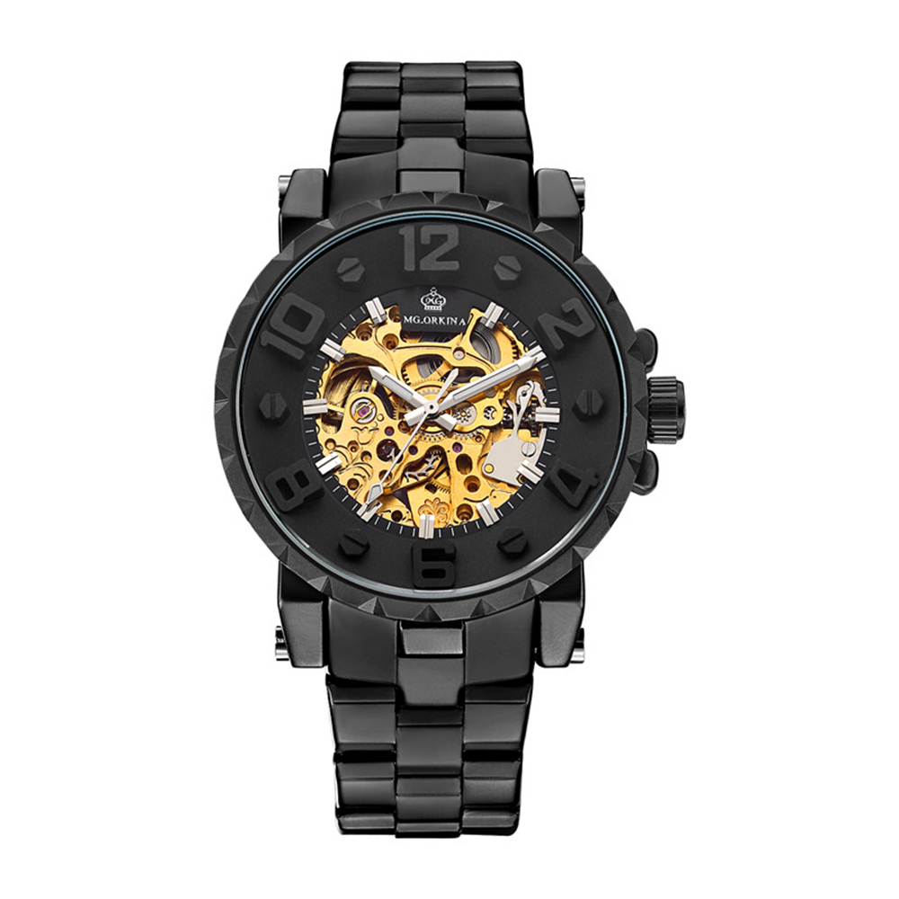MG.ORKINA 2017 Series Relogio Masculino Black Steel Band Automatic Mechanical Luxury Golden Skeleton Male Wristwatches Men Watch<br>