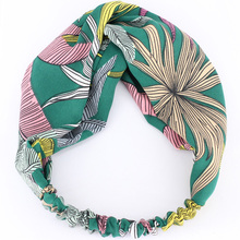 Large Leaves Headband for Girls Stretch Twisted Turban Head Wrap Floral Hairband Wholesale Fashion Hair Accessories for Women(China)