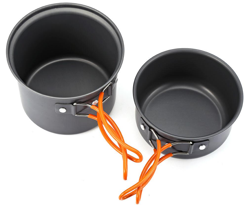 2pcs Outdoor Camping Hiking Cooking Set Cookware Non-stick Pan Pot Bowl Tableware
