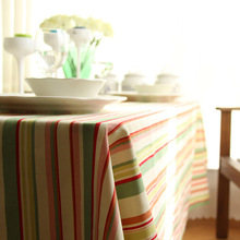 Korea Style Multi Size Red Green Striped Floral Wedding Party Table cloth Home Decoration Cotton Table Cover