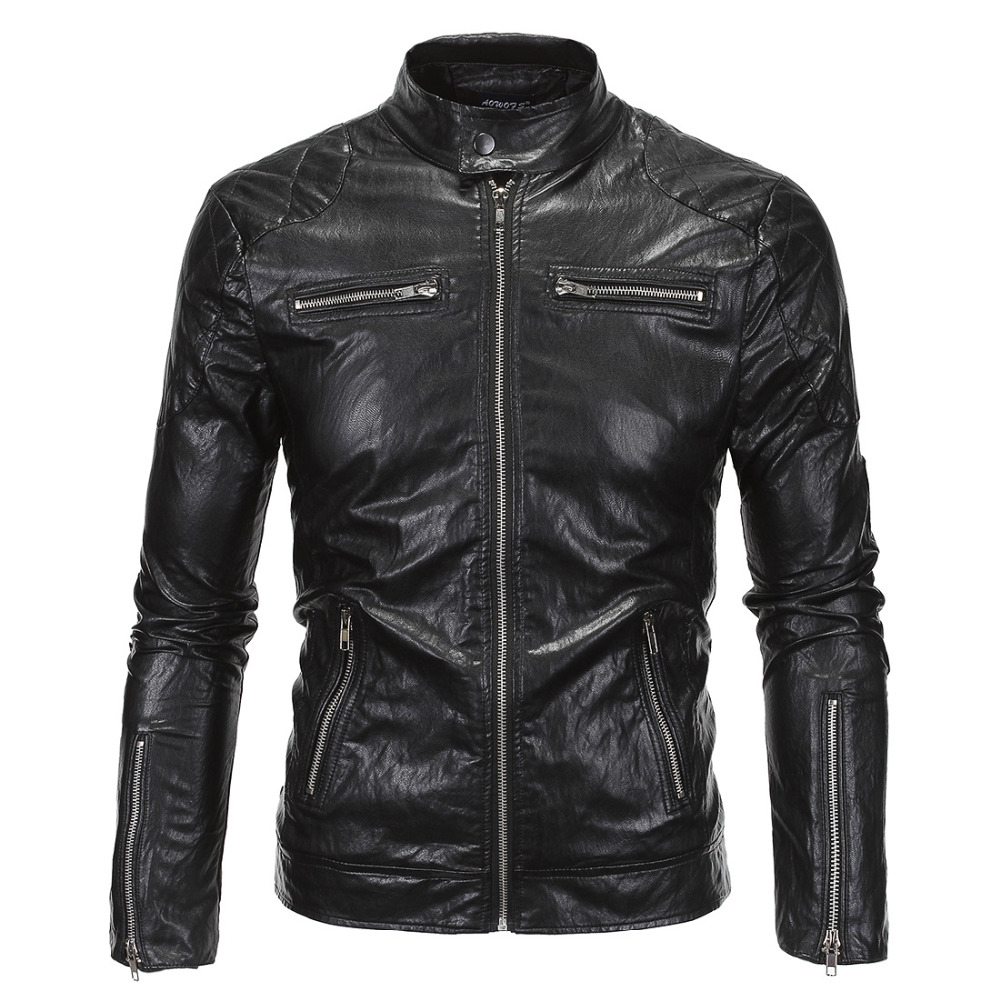 544dfc85964 2016 Autumn and winter men long sleeve leather jacket motorcycle PU black  jackets and coats plus