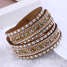 Fashion jewelry Leather Bracelet Wrap Multilayer Crystal Bracelet bracelets for women pulseras mulher