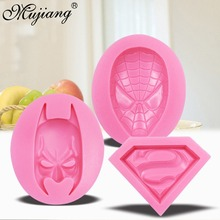 3D Silicone Molds Superman Spiderman Batman Sugarcraft Fondant Chocolate Mold Face Silicone Cake Mold Cake Decorating Tools(China)
