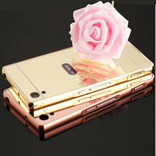 Luxury Rose Gold Aluminum plating Mirror case for Sony Xperia Z Z1 Z2 Z4 Z5 Z3 Z5 compact premium M4 M5 Metal Frame Back Cover