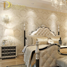 European Simple Luxury Beige Deep Blue Damask Wallpaper For Wall 3 D Classic Embossed TV Room Bedroom Wall paper Home Decor(China)