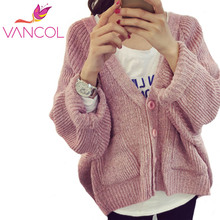 Vancol Long Sleeve Knitted Cardigan For Women Autumn New Fashion Loose Batwing Sleeve V Neck All-Math Plus Size Sweaters Coats