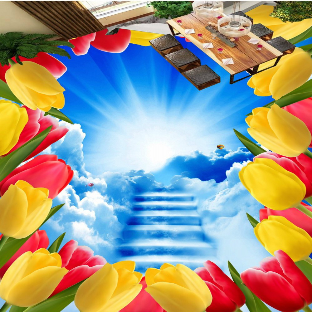 Free Shipping custom flowers cloud ladder blue sky bathroom living room hall 3D floor sticker painting<br>