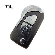 2 Buttons Car Flip Remote Key Shell Fob For Peugeot Key Replacements Blade No Groove With Battery Clip