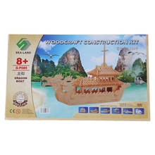 Dragon Boat Model 3D Wooden Construction Kit DIY Puzzle Toy Gift(China)