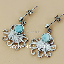 Wholesale Fashion Larimar Jewelry Classic Silver Plated Earrings R3546(China)