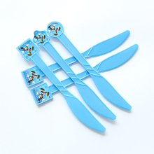 10pcs/lot Blue Mickey Cartoon Theme Plastic Spoon Knives Forks For Kids Birthday Festival Party Supplies Decoration(China)