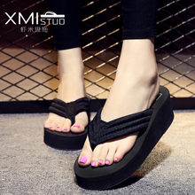 XMISTUO High-end fashion career girl with light slope bottom muffin sandals home shopping and leisure resort essential flops