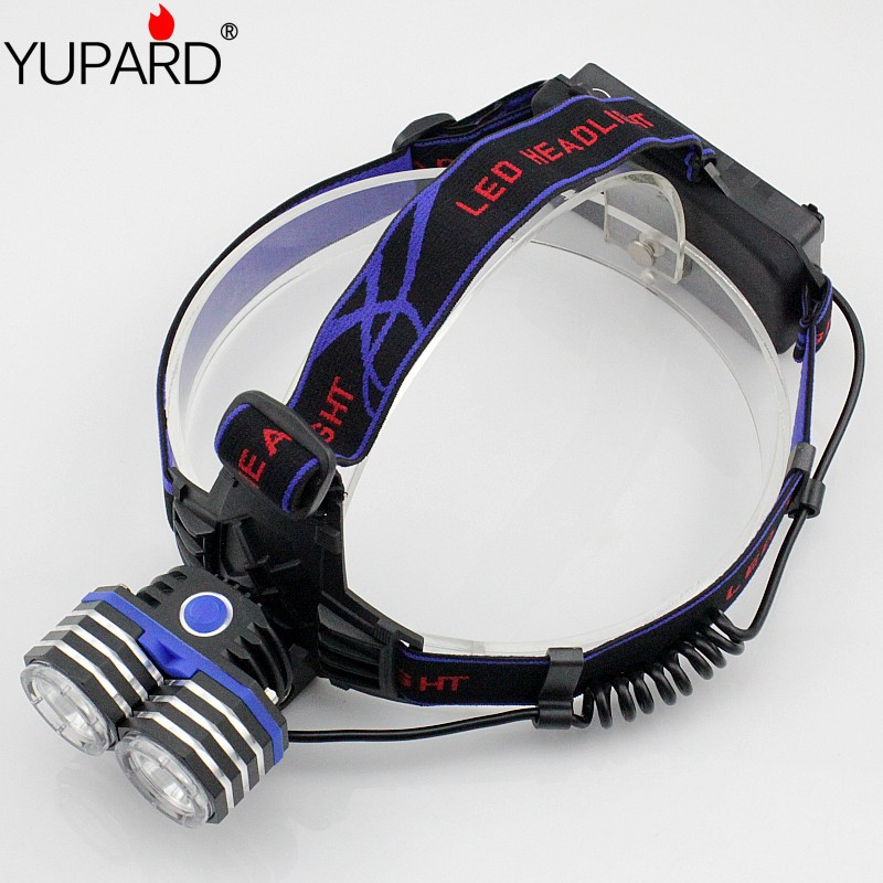 free shipping Headlamp 2 Cree XM L T6 LED 2000LM Outdoor Lighting Head Lights Support Connect