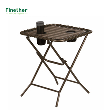 Finether Folding Side Table with Mesh Drink Holders for Patio Garden Picnics Beach Camping and Home Bronze Fold Side Table
