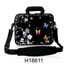 "Free Shipping, Neoprene 10""13""14""15""17"" Butterfly Style Laptop Shoulder Bag Sleeve Carrying Soft Handle Netbook Case For Dell HP"