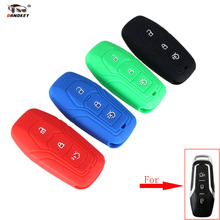DANDKEY Silicone Car Key Cover case for 2016 Ford Mustang EcoBoost Premium Convertible 2-Door 3 Buttons Smart Car key(China)