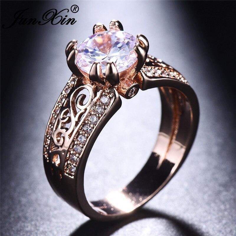 2019 Boho Female Crystal Zircon Stone Ring Vintage Rose Gold Wedding