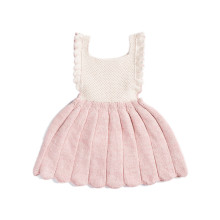 Ins Hot Fashion baby girls dress kids knitted birthday princess dress moving into a pleated full dress Hand knit on 100% cotton