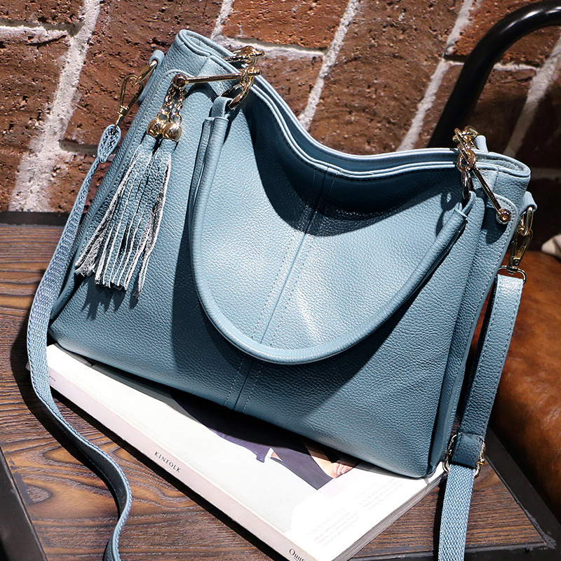 New hot sale brand women bag fashion women genuine leather handbag tassel shoulder bag messenger bags bolsa feminina Casual Tote<br>