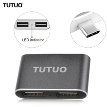 TUTUO USB-C Male to USB-A 3.0 Female OTG Adapter Aluminum Alloy Type-C Hub for MacBook/Chromebook Pixel/Mobile Phones (Gray)(China)