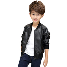 2-14YSpring, autumn Cool Kids Boys Leather Jacket Boys Fashion Children Outerwear Kids Girls Coats Leather Jackets black Brown(China)