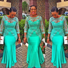 Turquoise African Mermaid Evening Dress 2017 Vintage Lace Nigeria Long Sleeve Prom Dresses Aso Ebi Style Evening Party Gowns
