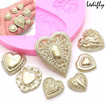 2017 Ledifly Hot Sell Relief Resin Clay Soap Moulds Fondant Cupcake Chocolate Mold Heart Diamond Silicone Cake Molds(China)