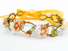 Cherry Blossom Flower Headband Music Festival Floral Tiara Orange White Dance Headdresses Garden Party Decoration Photo Props(China)