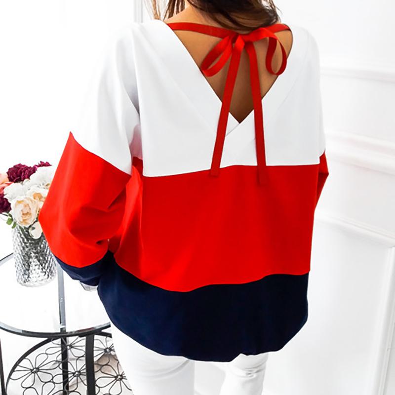 Sweatshirt, Women's Sweatshirt Patchwork Pullover 25