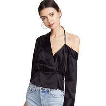 Buy Sexy One Shoulder Blouse Women's Black Shirt V collar Irregular Spring Casual Long Sleeve Halter Crop Tops blusas mujer