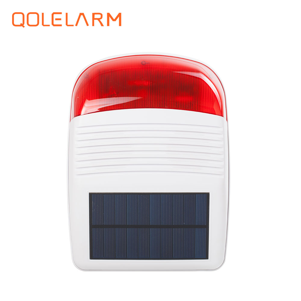 for GSM WiFi PSTN 433 MHz outdoor wireless strobe siren solar powered with red flash light 110db for home security alarm system <br>