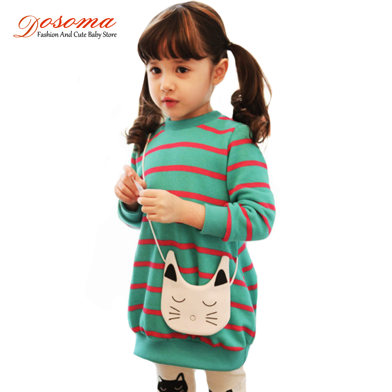 2017 spring kids clothes girls korean fashion cotton striped cat knitting dress pants suit girls stes backpack children clothing<br><br>Aliexpress