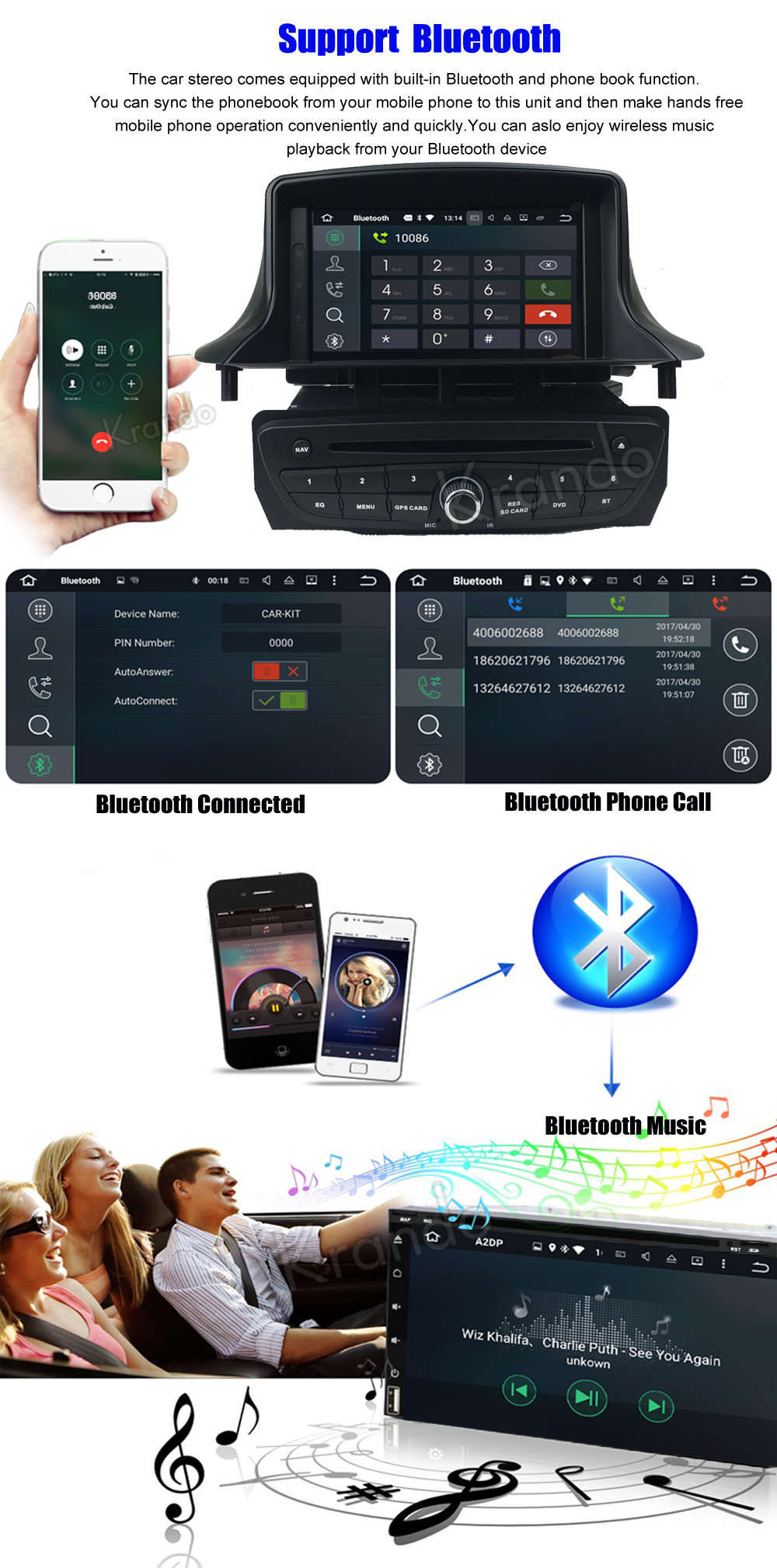 krando android car radio gps for renault megane 3 navigation multimedia system (5)
