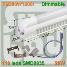 10pcs/lot free shipping Dimmable LED integrated T5 tube 4ft 1200mm 20W surface mounted with accessory lamp to lamp connecti