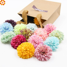10pcs 5.5cm Silk Carnation Artificial Scrapbooking Flower Heads For Wedding Party Decoration DIY Wreath Gift Craft Flower