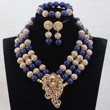 Unique Royal Blue Coral Beads Jewelry sets Nigerian African Wedding Bridal/Women Beads Necklace Jewelry Set Free Shipping CJ851