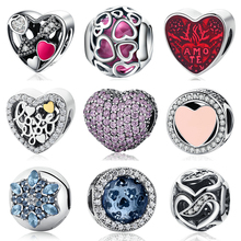 Buy 925 Sterling Silver Heart Bead Charms Pink Cubic Zirconia CZ Clip Charms Fit Pandora Bracelet Jewelry for $8.22 in AliExpress store