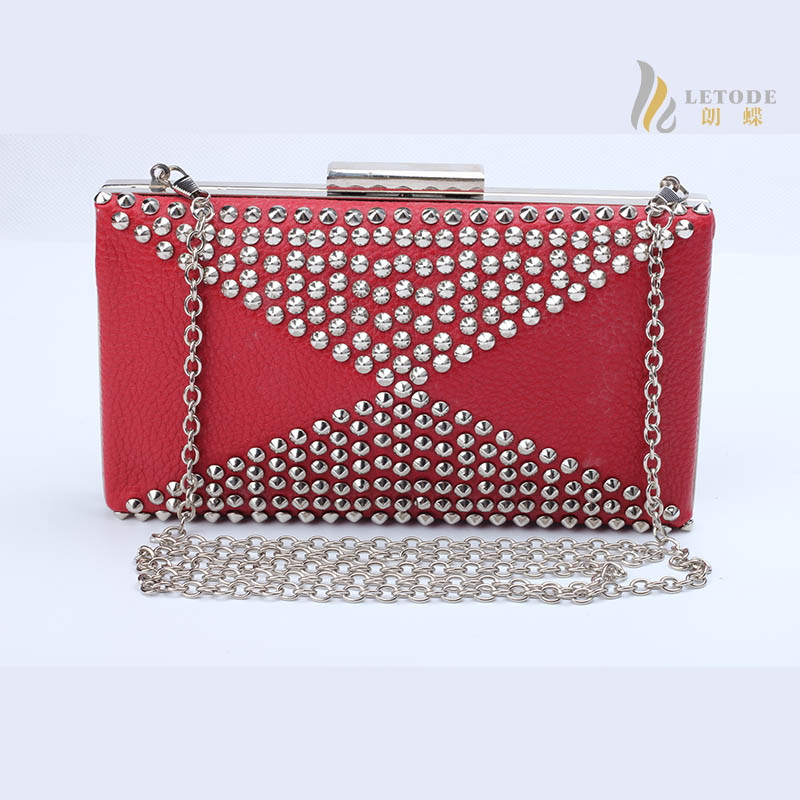 Sequined small Single chain solid flap evening bag women lady bolsas femininas Brand PU leather Handbags rivet Clutch bag 8119<br>