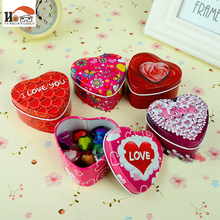 CUSHAWFAMILY Heart shape iron gift receive box candy storage box Europe type wedding favor tin box cable organizer container