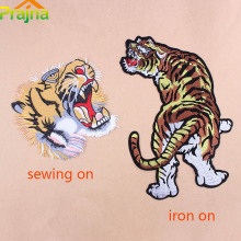 Cool Large Tiger Back Sew Iron On Patches Stripe For Clothing Jacket Biker Punk Patch Applique Embroidered Rock Motorcycle DIYE1(China)