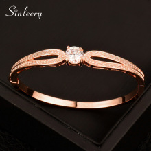 SINLEERY Luxury Round Austrian Crystal Bangle Bracelet For Women White/ Rose Gold Color Fashion Wedding Party Jewelry SL087 SSD