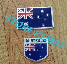 100 pcs/lot 3D Aluminum car stickers Australia Flag logo Emblem badge car styling decoration decals Bumper sticker(China)