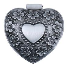 Vintage Heart Design Carved Flower Jewelry Box Antique Necklace Earring Storage Organizer