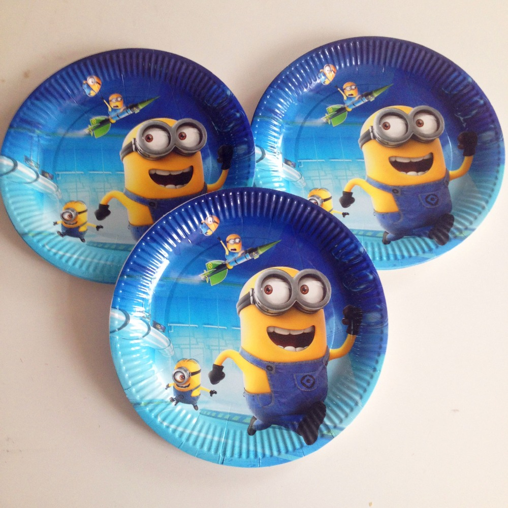 10pcs/set Minions Party Supplies Plate Cartoon Theme Party For Kids Happy Birthday Decoration Theme Party Supplies(China)