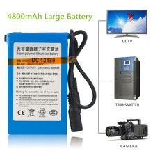 DC 12V 4800mah Super Large Capacity Rechargeable Li-ion Battery Durable Use Battery Charger for CCTV Camera Battery High Quality