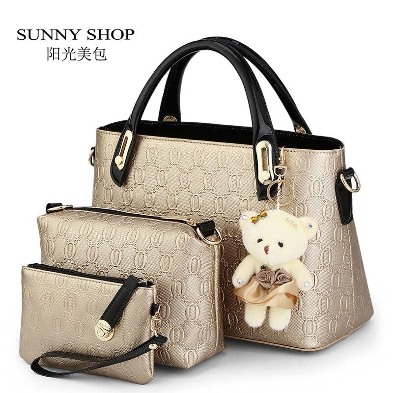 SUNNY SHOP 3 Bags/set W/bear toy Casual Embossed Designer Handbags Purse High Quality Women Messenger Bag Over the Shoulder Bags<br>