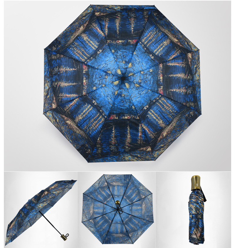 Full automatic fashion folding sunny rainy van gogh oil painting full automatic fashion folding sunny rainy van gogh oil painting bright pattern women men quality brand umbrella paraguas gift us516 fandeluxe Image collections