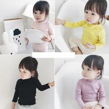 T-shirt Children Age 0-4 Years Old Baby T-shirt Korean Cotton Long Sleeved Shirt Girl Half Turtleneck Kids Clothes(China)