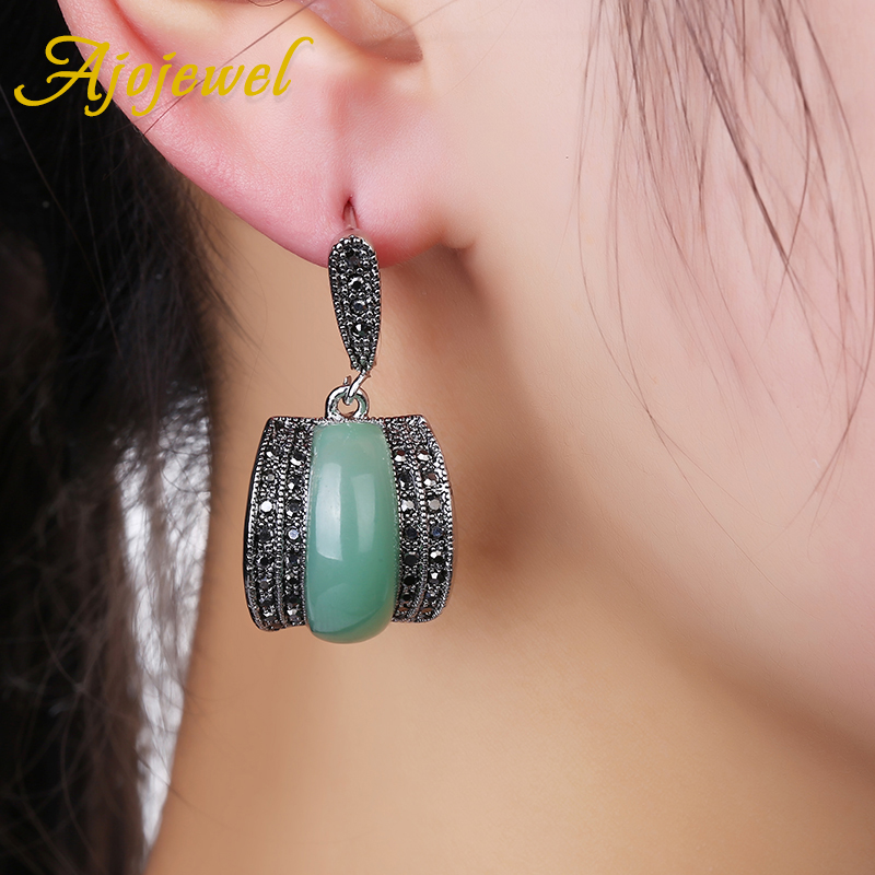 Ajojewel Luxury Geometric Green Stone Vintage Earrings For Women Antique Silver Color Black Rhinestone Drop Earrings Original