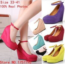 Wedges shoes for women pumps wedge shoes platform wedges high heels shoes belt button women wedges platform shoes Pluse size 41